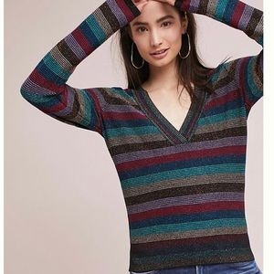 Anthropologie Moth Striped V- Neck Sparkle Sweater